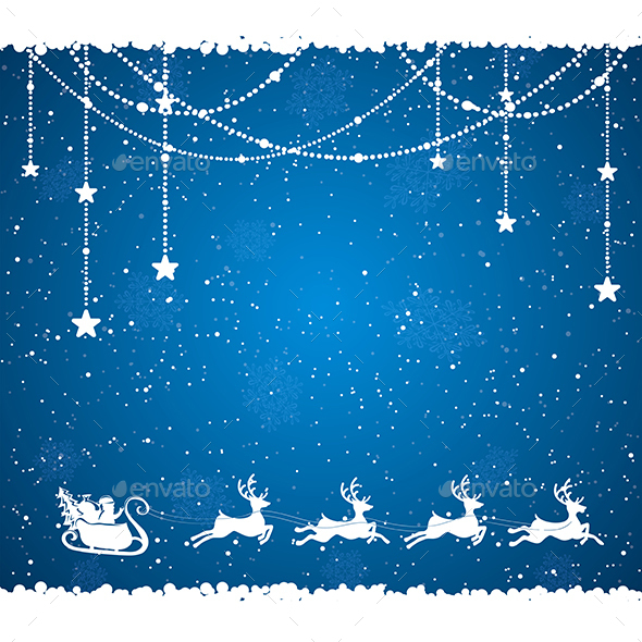 Blue Christmas Background with Santa - Christmas Seasons/Holidays