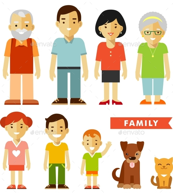Set of Seven Family Members - People Characters
