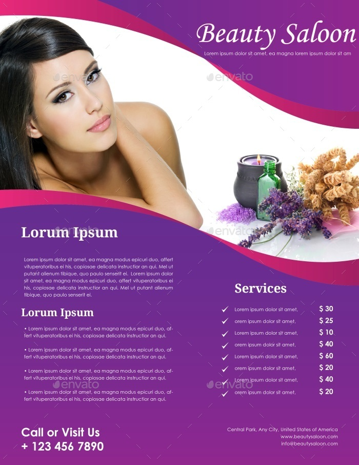 Beauty Salon Flyer Template By CarlosFernando  Graphicriver