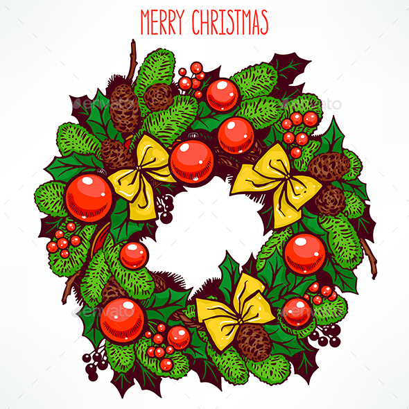 Hand-Drawn Christmas Wreath - Christmas Seasons/Holidays