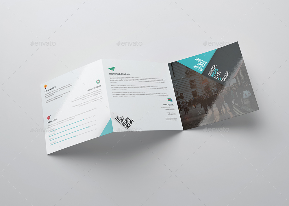 Square Tri Fold Brochure Template By EVNY