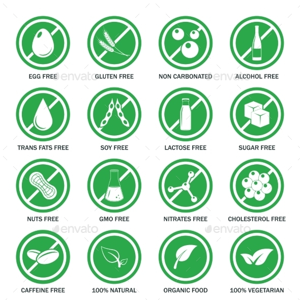 Allergen Icons Vector Set - Food Objects
