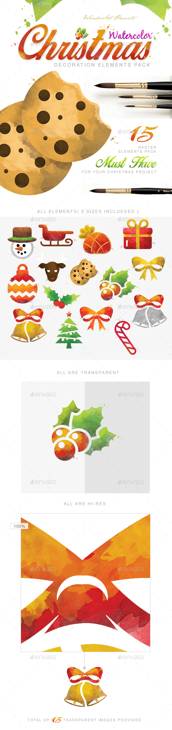 Watercolor Christmas Decoretive Elements Pack - Miscellaneous Illustrations