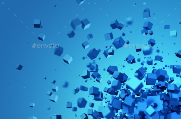 Abstract 3D Rendering Of Chaotic Cubes. - Abstract Backgrounds