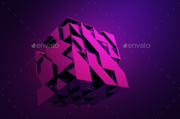 Abstract 3D Rendering Of Flying Cube. - Abstract 3D Renders