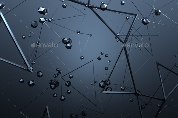 Abstract 3D Rendering Of Chaotic Structure. - Tech / Futuristic Backgrounds