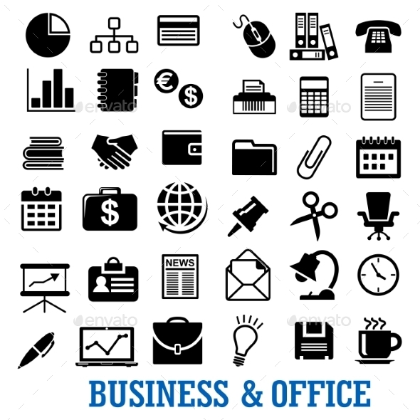 Business Finance and Office Flat Icons Set - Web Elements Vectors