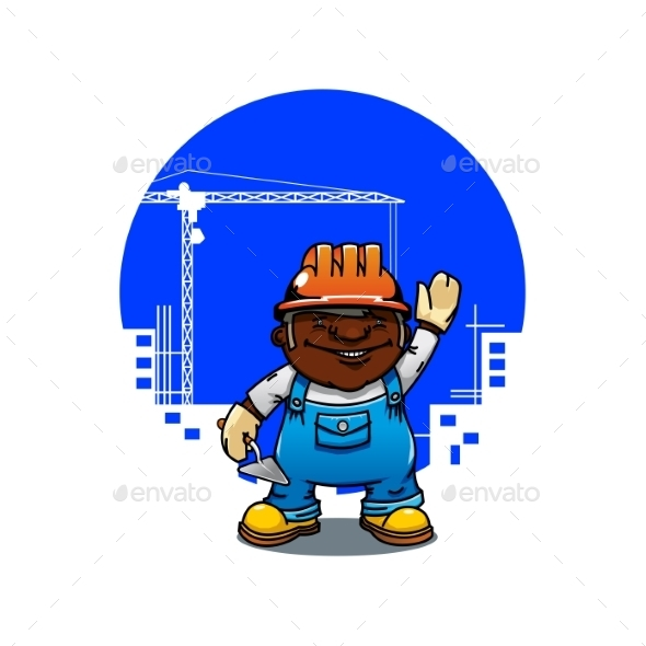 Cartoon Bricklayer or Builder with Trowel - People Characters