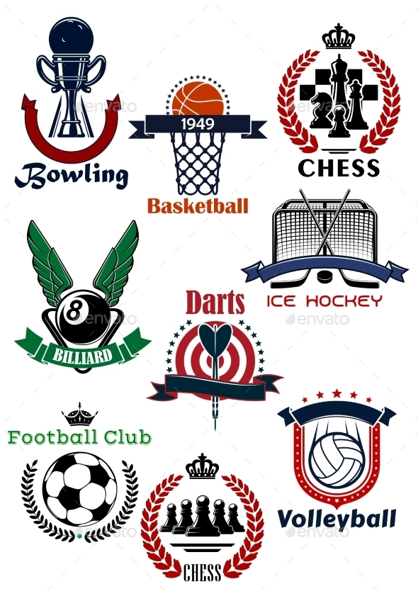 Sport Games Symbols and Icons Set - Sports/Activity Conceptual