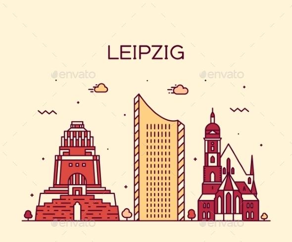 Leipzig Skyline Illustration Linear Style - Landscapes Nature
