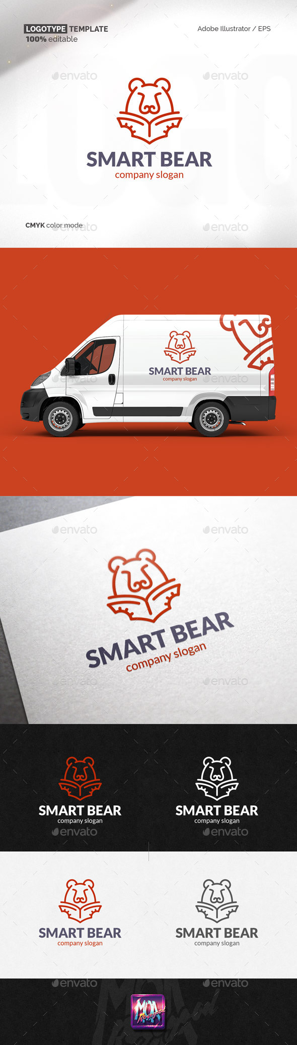 Smart Bear logo template - Animals Logo Templates