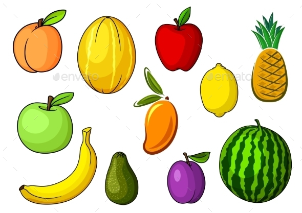 Farm Colorful Sweet Fruits In Cartoon Style - Food Objects