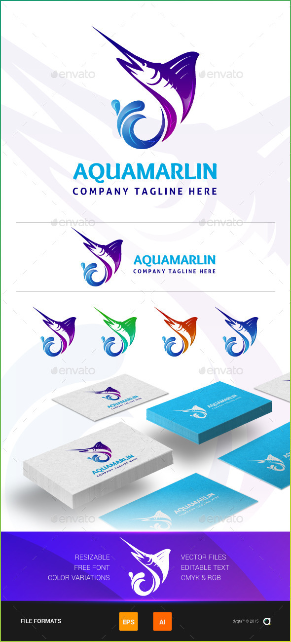 Aqua Marlin Logo Template - Animals Logo Templates