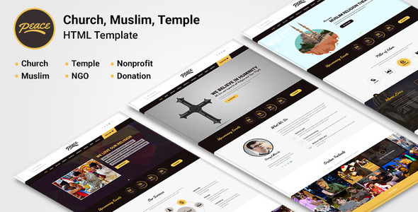 Peace - Church / Muslims / Temple HTML Template - Nonprofit Site Templates