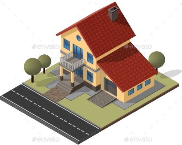 Cottage Isometric Vector EPS10 - Buildings Objects