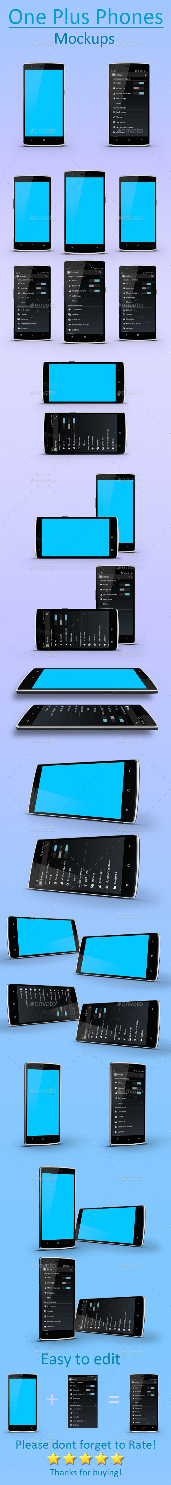 One Plus Phone Mockups - Mobile Displays