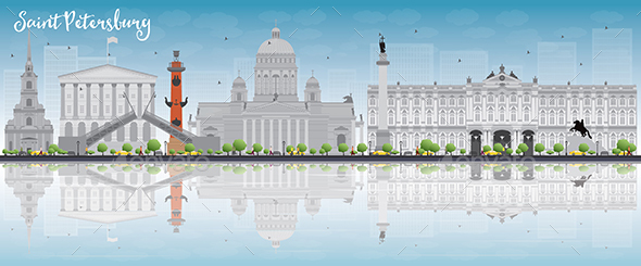 Saint Petersburg Skyline with Gray Landmarks - Buildings Objects