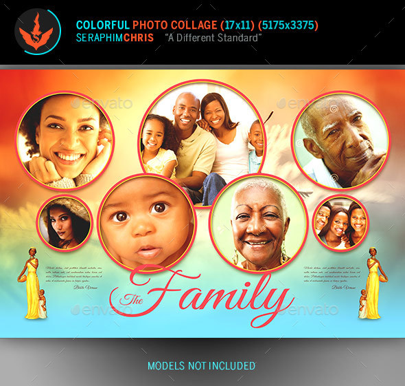 Colorful Photo Collage Template - Photo Templates Graphics