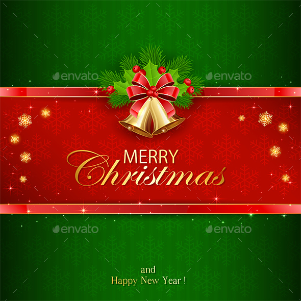 Green Background with Christmas Bells - Christmas Seasons/Holidays