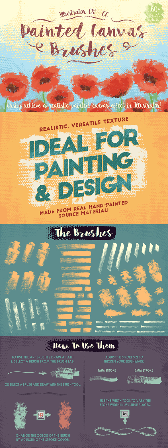 Painted Canvas Brushes - Brushes Illustrator