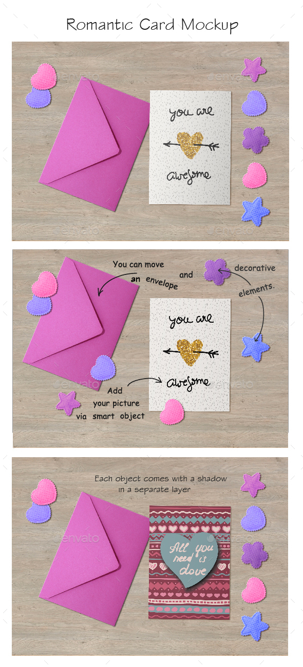 Editable Romantic Card Mockup - Product Mock-Ups Graphics
