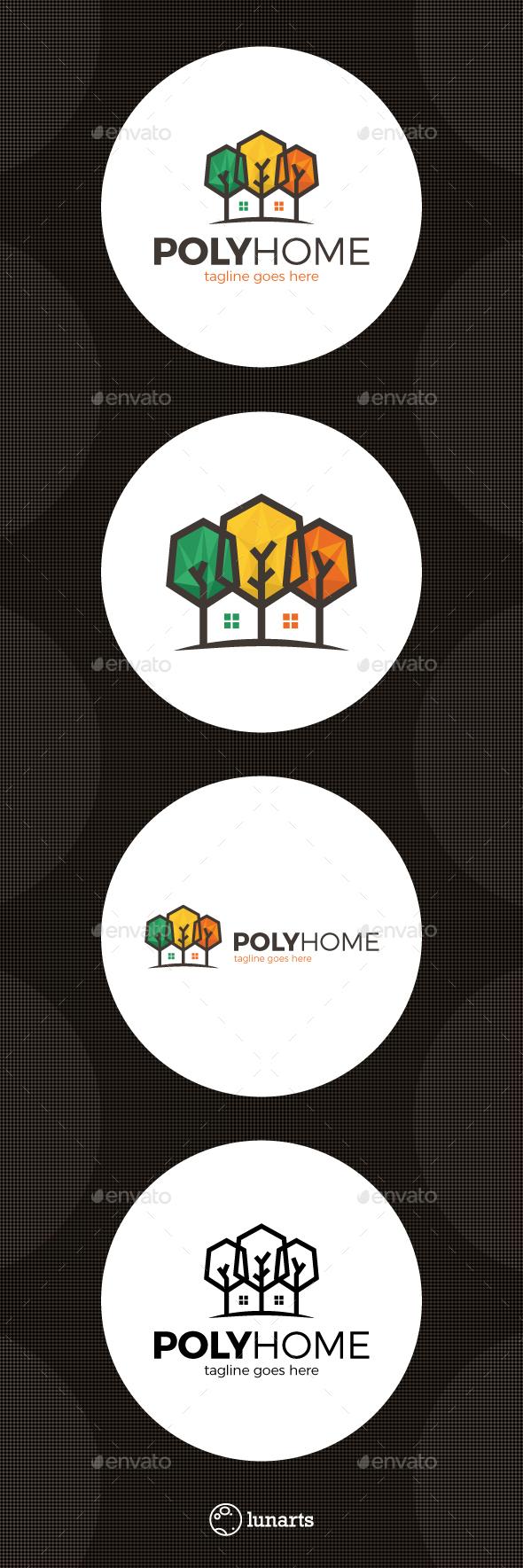 Poly Tree Home Logo - Nature Logo Templates