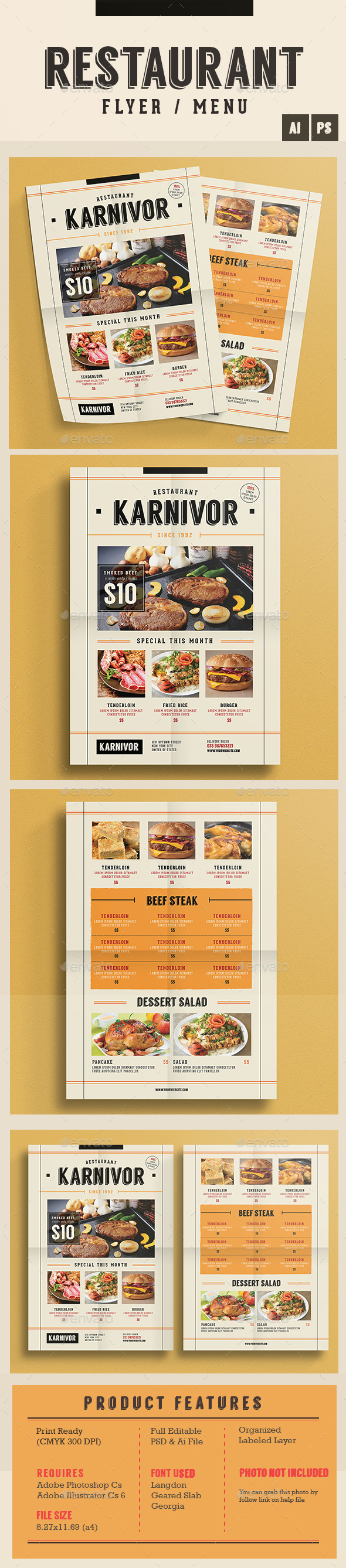 Restaurant Flyer Menu - Food Menus Print Templates