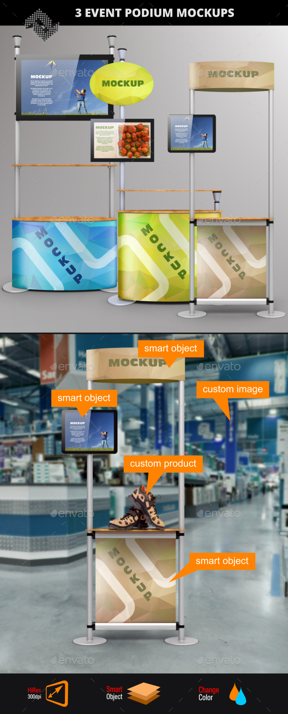 3 Demo Station /  Event Podium Mockups - Displays Product Mock-Ups