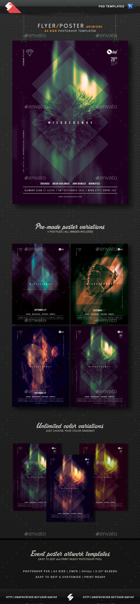 Microcosmos - Progressive Party Flyer Templates A3 - Clubs & Parties Events