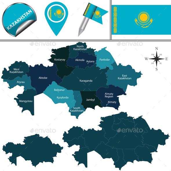 Map of Kazakhstan - Travel Conceptual