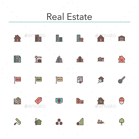 Real Estate Colored Line Icons - Buildings Objects