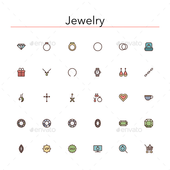 Jewelry Colored Line Icons - Objects Icons