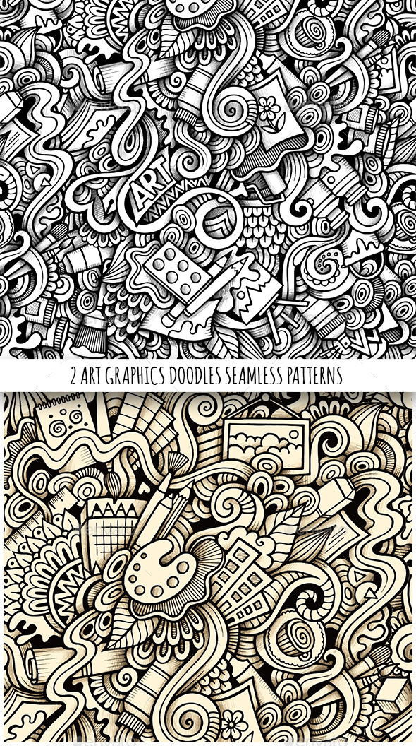 2 Art Doodles Graphics Seamless Pattern - Conceptual Vectors