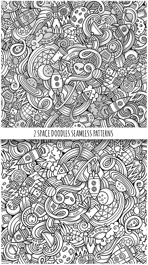 2 Space Doodles Seamless Patterns - Technology Conceptual