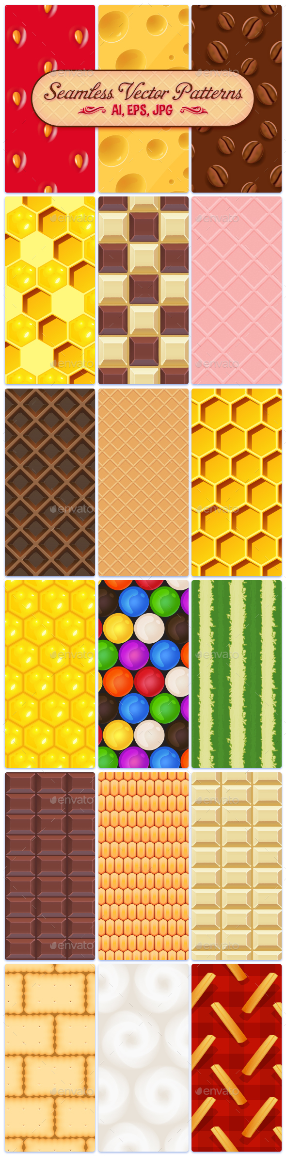 18 Food Seamless Vector Patterns - Patterns Decorative