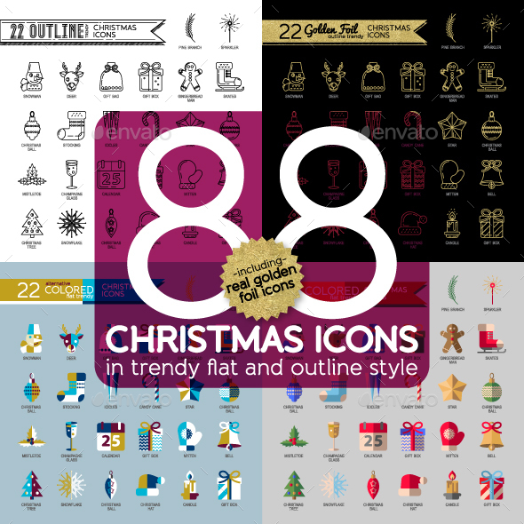 Christmas Trendy Flat and Outlines Icons Set  - Seasonal Icons