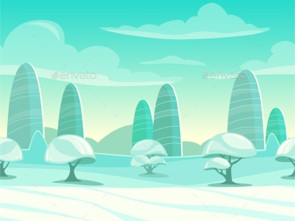 Funny Cartoon Winter Landscape - Landscapes Nature