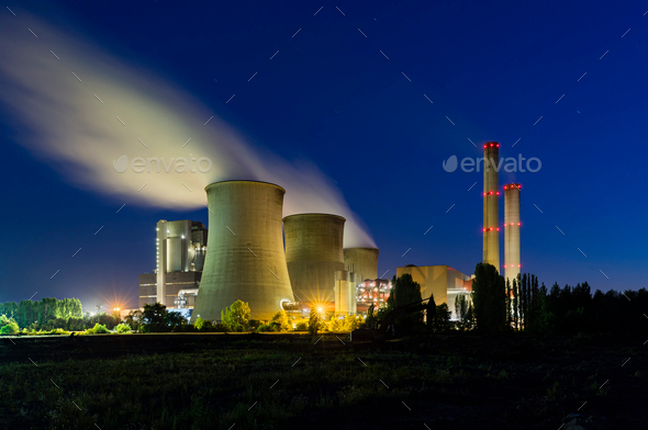 Coal Power Station At Night - Stock Photo - Images