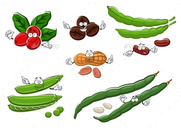Coffee, Peanuts, Green Pea Pods And Beans - Food Objects
