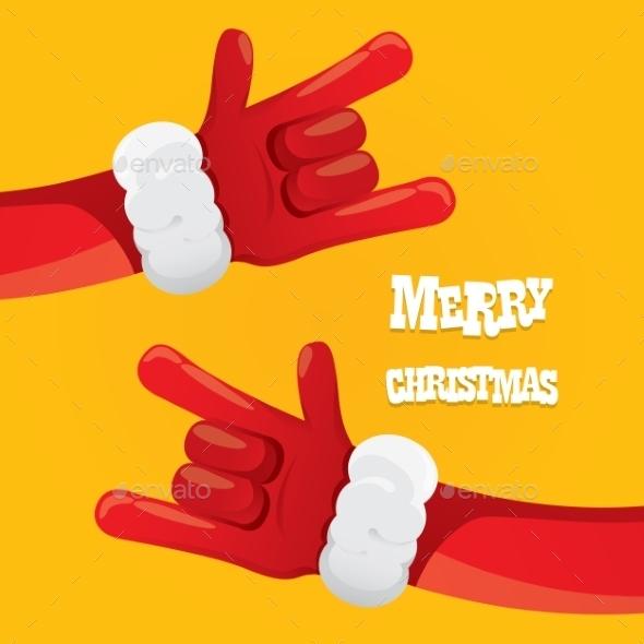Santa Claus Rock n Roll Gesture Icon Vector - Christmas Seasons/Holidays
