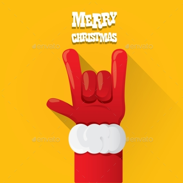 Santa Claus Rock n Roll Gesture Icon Vector - Christmas Seasons/Holidays