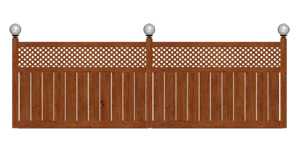 Wooden Fence with Lights - 3DOcean Item for Sale