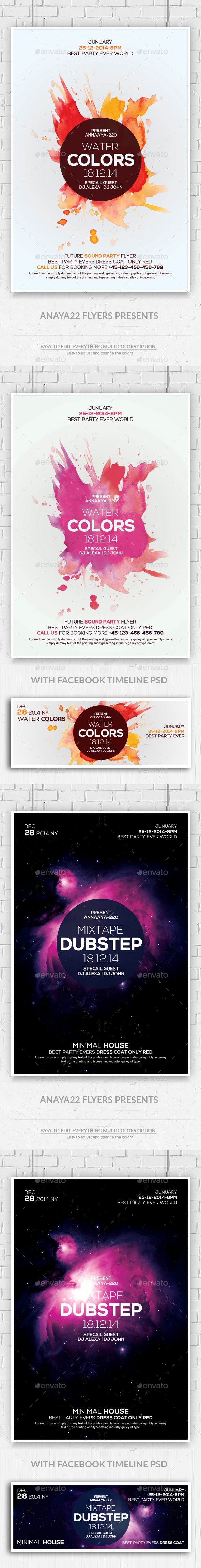 Electro Colorphonic Flyers Bundle with Facebook Ti - Clubs & Parties Events