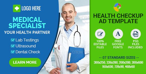 GWD | Medical Health Checkup Banners - 7 Sizes - CodeCanyon Item for Sale