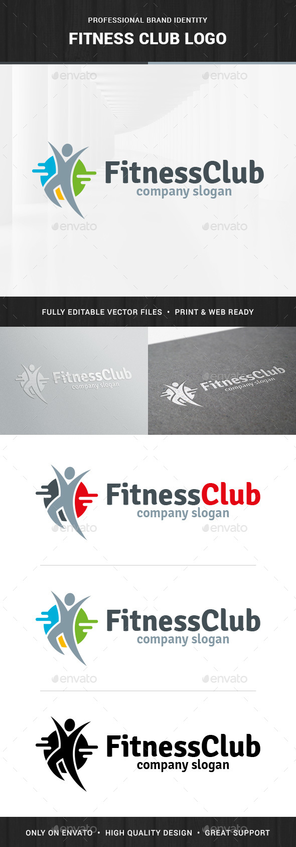 Fitness Club - Human Logo - Humans Logo Templates