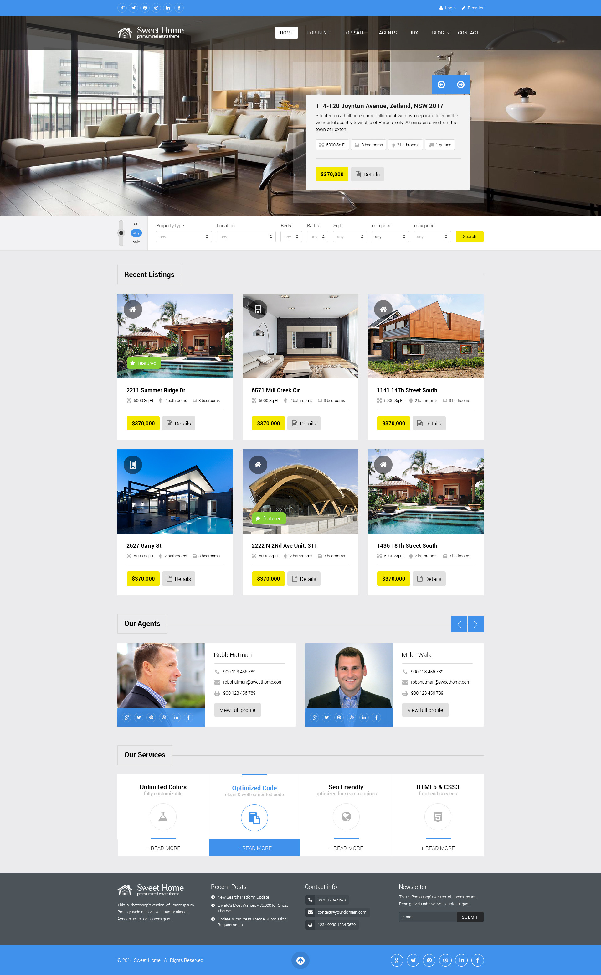 sweethome responsive real estate wordpress theme by premiumlayers