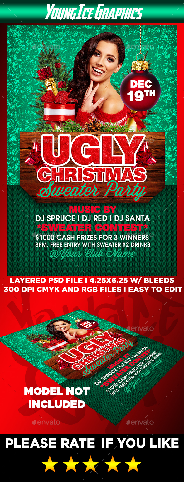 Ugly Christmas Sweater Party Flyer - Clubs & Parties Events