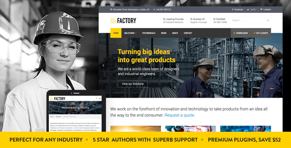 20+ Best Industrial & Manufacturing WordPress Themes 2019 4