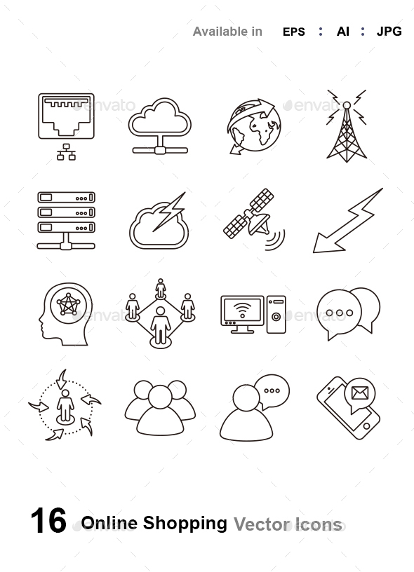 Network & Communications Outlines - Technology Icons