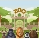 Zoo Gate with African Flat Animals - GraphicRiver Item for Sale